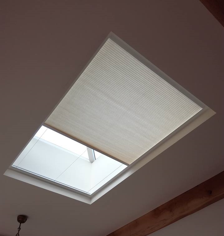 Skylight blind on shelf