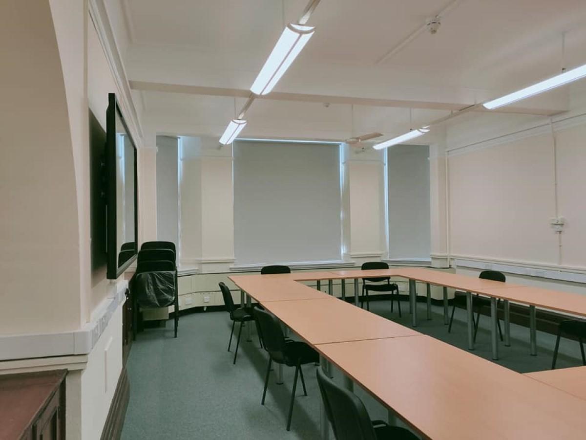 Roller blinds in training room